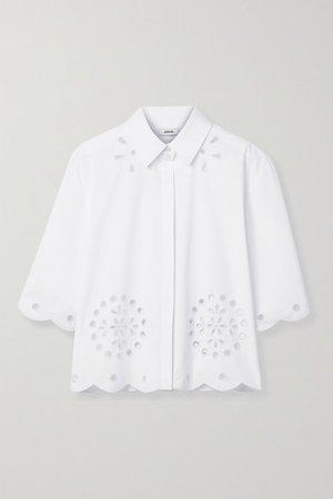 Broderie Anglaise Cotton-blend Poplin Shirt - White