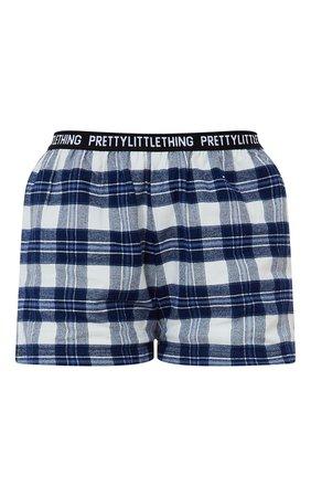 Plt Blue Taping Detail Check Pj Shorts   PrettyLittleThing USA