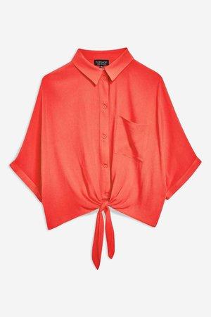 (TopShop) Knot Front Shirt