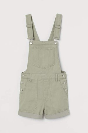 Twill Overall Shorts - Green