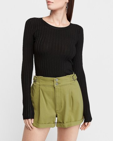 Super High Waisted Pleated Buckle Tab Shorts