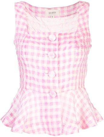 sleeveless checked blouse
