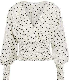 Cape-effect Shirred Polka-dot Silk Crepe De Chine Blouse