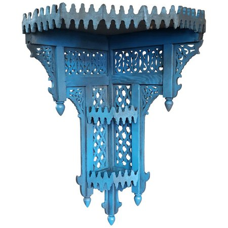 Moroccan Blue Wooden Corner Shelf For Sale at 1stdibs