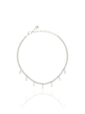 SHAY 18kt White Gold Pear Diamond Necklace - Farfetch