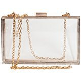 omen's Transparent Clear Purse Clutch Bag Evening Handbags Cross-Body Bag for Women NFL Stadium Approved Acrylic, Chain Strap