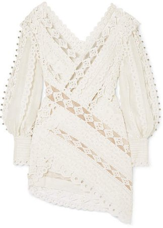 Moncur Studded Paneled Broderie Anglaise Cotton Mini Dress - Ivory