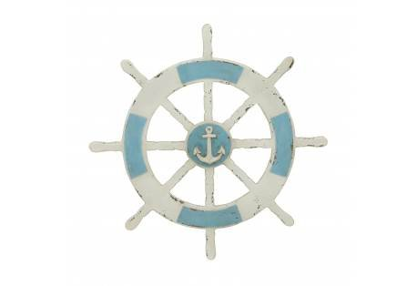 Blue and white ship wheel 1