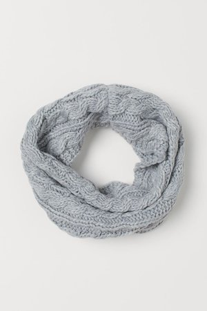 Cable-knit tube scarf - Light grey - | H&M GB