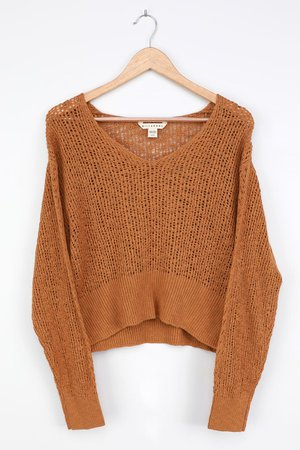 Billabong Feel the Breeze - Yellow Knit Sweater - Loose Knit Top - Lulus