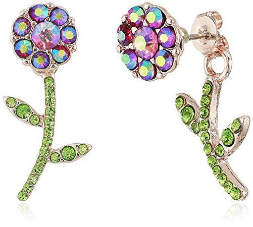 Betsey Johnson Flower Front Back Earrings-Jackets, Purple, One Size: Jewelry