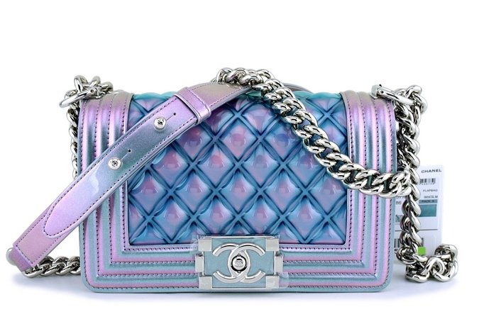 Chanel Purple Patent Mermaid Rainbow Classic Small Boy Flap Bag