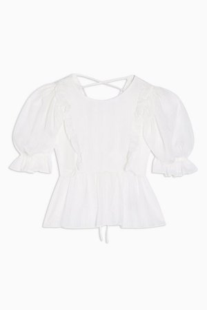 White Gingham Puff Sleeve Blouse   Topshop