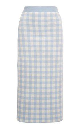 Gingham Cotton Knitted Midi Skirt By Alessandra Rich | Moda Operandi