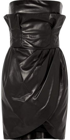 Leather Mini Dress - Black