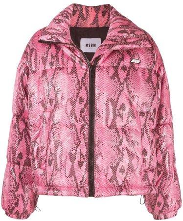 python print cropped puffer jacket