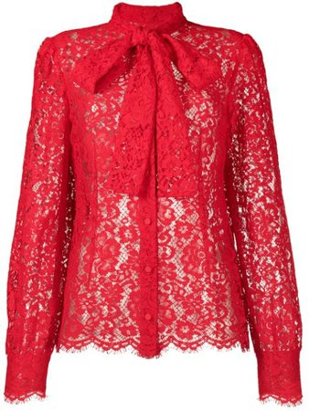 Dolce & Gabbana Pussybow Collar Lace Blouse - Farfetch