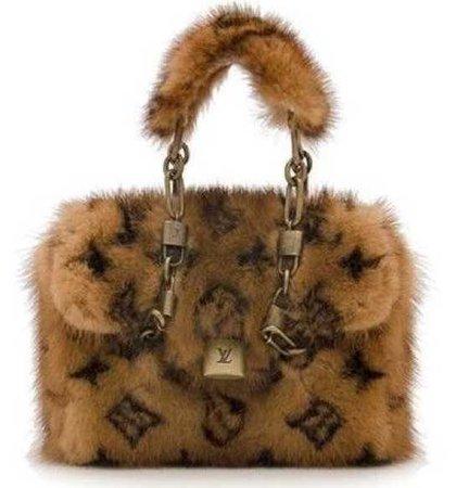LV fur bag brown