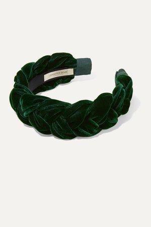 Jennifer Behr | Lorelei braided velvet headband | NET-A-PORTER.COM