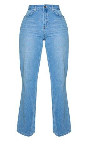 Shape Vintage Wash Denim Wide Leg Jeans | PrettyLittleThing USA