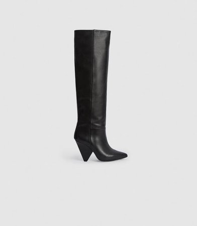 Jax Black Leather Knee High Boots – REISS
