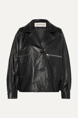 Oversized Leather Jacket - Black