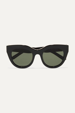 Black Air Heart cat-eye acetate and gold-tone sunglasses | Le Specs | NET-A-PORTER