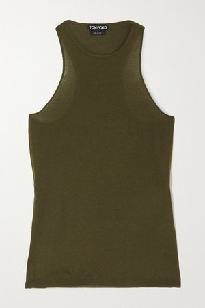 Cashmere And Silk-blend Tank - Green