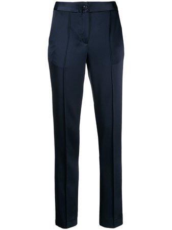 Talbot Runhof, Tailored Navy Satin Trousers Pants