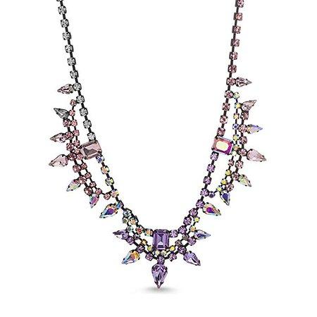Amazon.com: Steve Madden Women's Multicolored Iridescent Rhinestone Geo Floral Black-Tone Statement Collar Necklace, One Size: Clothing