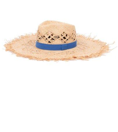 Frayed Wide Brim Raffia Hat
