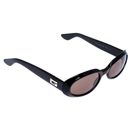 Gucci Black/Brown GG 2419 Vintage Oval Sunglasses For Sale at 1stdibs