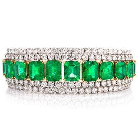 26.19 Carat Certified Colombian and 18.53 Carat Diamond Emerald 18K Bracelet