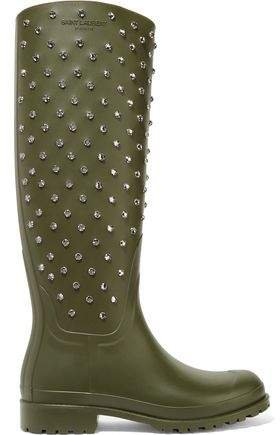 Festival Crystal-embellished Rubber Rain Boots