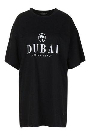 Dubai Printed Oversized Cotton T Shirt Dress | boohoo