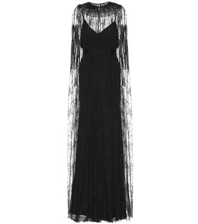 Lace and silk gown
