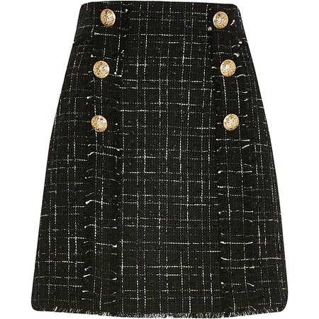 Black boucle gold button mini skirt | River Island
