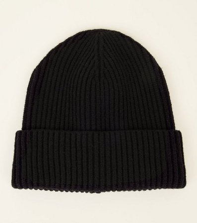 Black Ribbed Beanie Hat | New Look