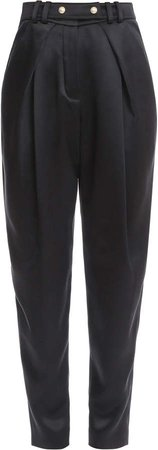 Button-Trim Silk Straight-Leg Trouser