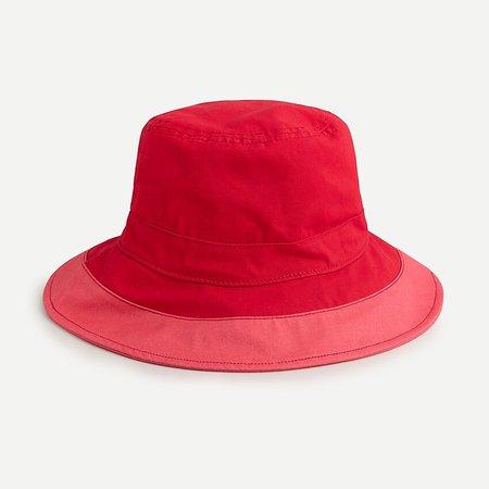 J.Crew: Wide-brim Bucket Hat In Colorblock red