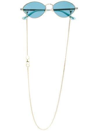 Jimmy Choo Eyewear Sonny oval frame sunglasses blue SONNYS58OGAMT - Farfetch