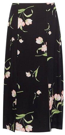 Black Floral Print Side Split Midi Skirt