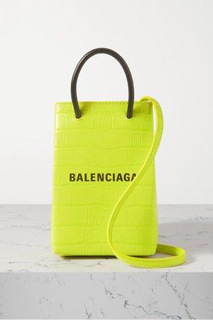 Lime green Shop croc-effect leather shoulder bag   Balenciaga   NET-A-PORTER