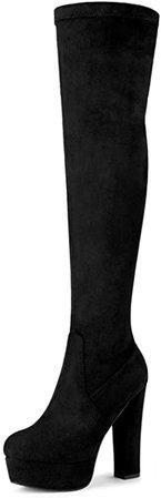Amazon.com | Allegra K Women's Platform Block Heel Brown Over Knee High Boots - 9 M US | Knee-High