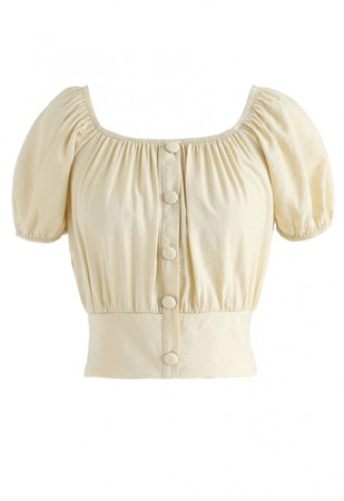 Square Neck Buttoned Front Cropped Top in Light Yellow - NEW ARRIVALS - Retro, Indie and Unique Fashion