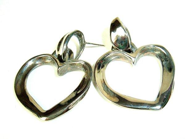 Robert Rose Mod Vtg 80s Heart Pierced Earrings Silver Tone Hippie Boho Chic | eBay