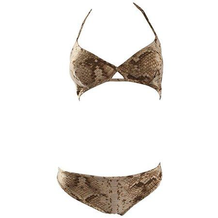 Tom Ford for Yves Saint Laurent Snake Skin Print Two Piece Bikini Swimsuit For Sale at 1stdibs