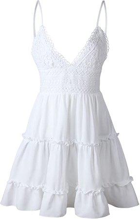 Amazon.com: ECOWISH Womens V-Neck Spaghetti Strap Bowknot Backless Sleeveless Lace Mini Swing Skater Dress: Clothing