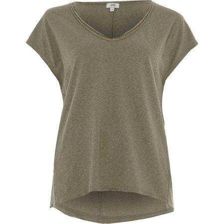 Khaki green rhinestone trim V neck T-shirt - Plain T-Shirts / Tanks - T-Shirts & Tanks - Tops - women
