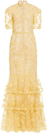 J. Mendel Tiered Embroidered Tulle Gown